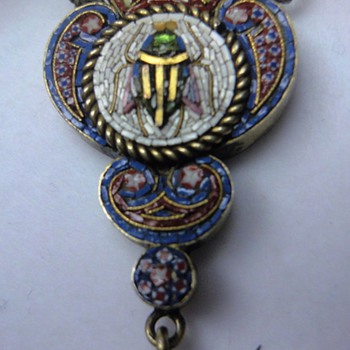 Micro Mosaic beetle pendant on antique watch chain