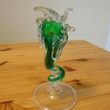 Murano Italian Art Glass Dolphin Vase - Art Glass