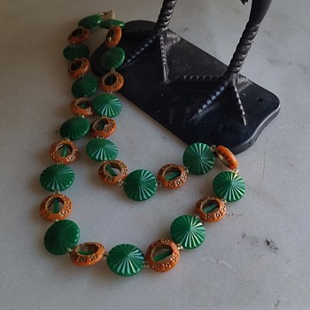 Green, orange and gold painted molded plastic beads - Costume Jewelry