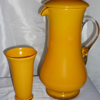 Happy looking jug and beaker - Glassware