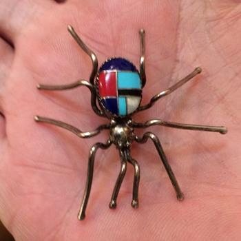 Vintage Sterling Zuni Inlaid Spider Pin - Fine Jewelry