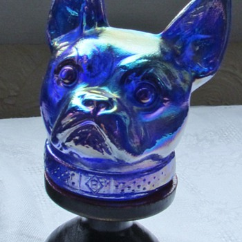 French Bulldog? Carnival Glass Candy Container - Animals
