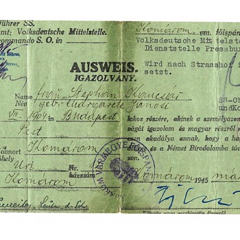 1945 SS issued evacuation permit - Paper