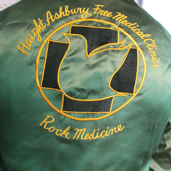 Vintage & Historic 1970s San Francisco's Haight Ashbury Free Clinic Satin Jacket  - Mens Clothing