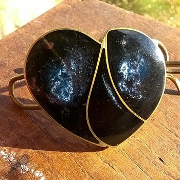 What Sort Of Stone Is This??? Handmade Brass & Stone Barrett/Hair Clasp - Costume Jewelry