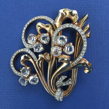 Large Art Deco Rhinestone Brooch - Costume Jewelry
