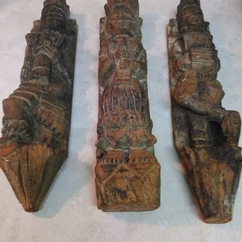 CARVED WOOD RELIGIOUS FIGURES - Asian