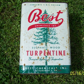 1940`s? Best chemical inc. turpentine gallon can - Advertising