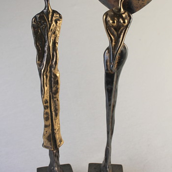 Female and male bronze sculptures by Yves Lohe - Fine Art