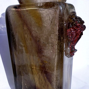 Two E. Leveille vases with metal oxide inclusions - Art Glass