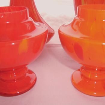 The Ruckl Tango Czech Glass ORANGE RED Parade - Art Glass