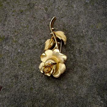 Trifari Rose Pin - Costume Jewelry