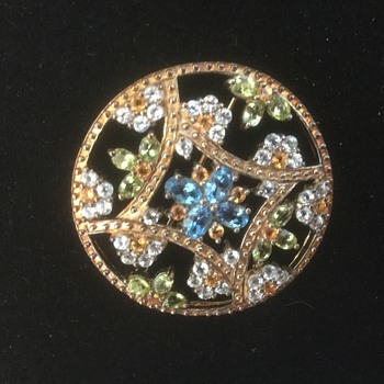 Awesome Sterling Flower Brooch with Gemstones  - Fine Jewelry