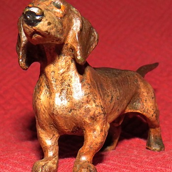 Vintage Bronze Dachshund - Animals