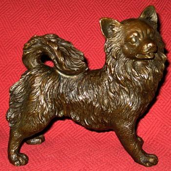 Bronze Long Hair Chihuahua Sculpture - Animals