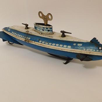 Early Tin Clockwork Wolverine Submarine Wind-Up  - Toys