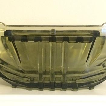 Linear / geometric Art Deco pressed glass jardinière