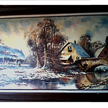 "Oil on Canvas 24""x48""/Title ""Lands"" or ""Landscape"" Signed ""David"" / Circa 20th Century - Fine Art"