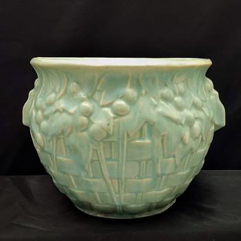 Vintage Nelson McCoy Art Pottery Basket Weave Jardiniere Planter Pot - Pottery