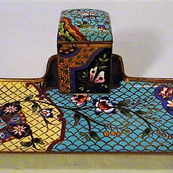 Rare Antique French Champleve Japonism Ink Bottle Stand and Tray - Pens
