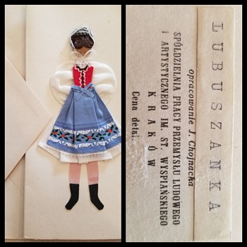 Polish dress greeting card ANTIQUE blank - Cards