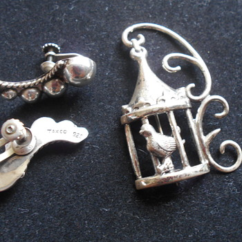 Vintage Taxco sterling earrings and Lang sterling birdcage pin