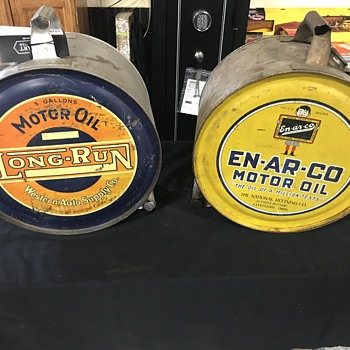 En-ar-co and Western Auto motor oil  5 gallon  rocker cans  - Advertising