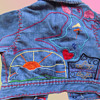 1970s Hand Embroidered baby/kid Denim Jacket with Peter Max inspired design