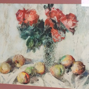 Large watercolour signed, Begonias and Peaches  in a glass vase possibly Chinese or Japanese - Asian