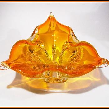 Flaming Orange -- CHALET ART GLASS BOWL - Canadian - Art Glass