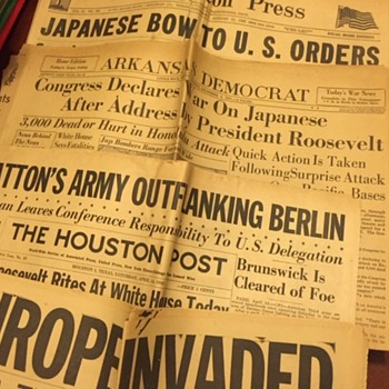 Big Box of 1940's War News Papers - Military and Wartime