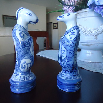 TWO BLUE AND WHITE  PORCELIN FIGURINES - Asian