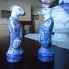 TWO BLUE AND WHITE  PORCELIN FIGURINES
