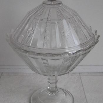 antique pedestal covered compote - Glassware