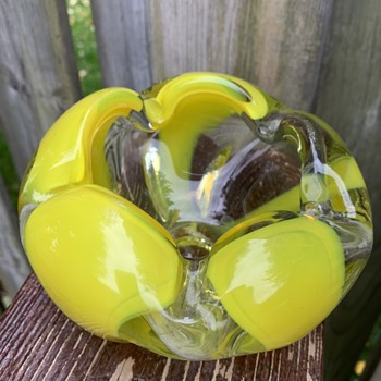 Japanese Yellow Ashtray Art Glass - Art Glass