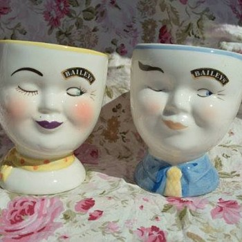 1997 Bailey's Winking Coffee Cups- His and Her's - China and Dinnerware