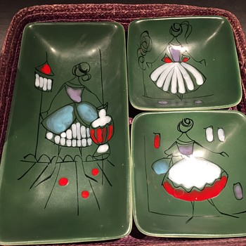 Mid Century Modern Illustrated Ceramic Hors D'oeuvre Trays Rosenthal Netter Italy - Pottery