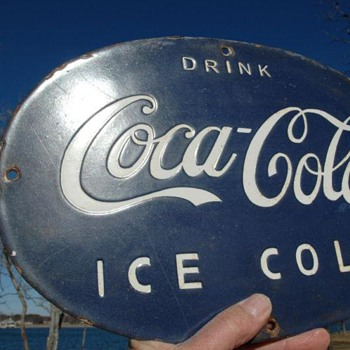 #5 Well made Coca-cola blue porcelain sign - Coca-Cola