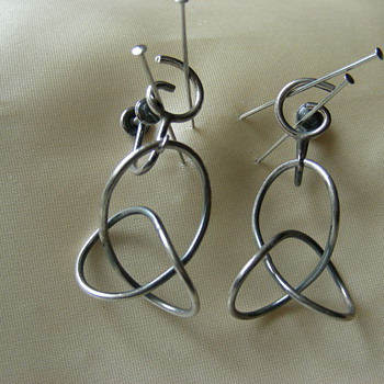 Unsigned 50's Modernist Sterling Earrings - Fine Jewelry