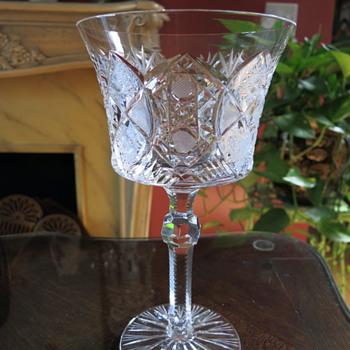 Old Crystal Water Goblet Cut Glass Zipper Stem