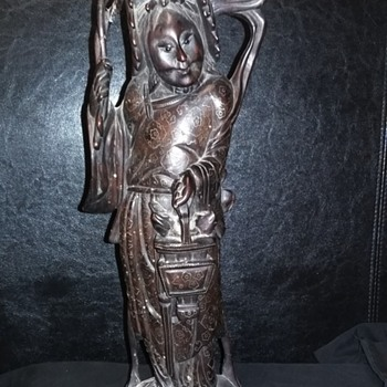 Wood statue with silver inlay - Asian