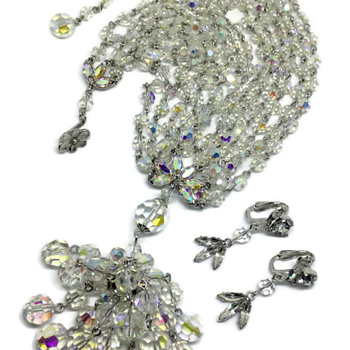 Crystal Clear Sherman Bead Necklace & Earrings - Costume Jewelry