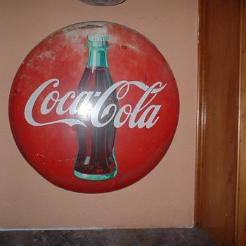 Coke Button Sign - Coca-Cola