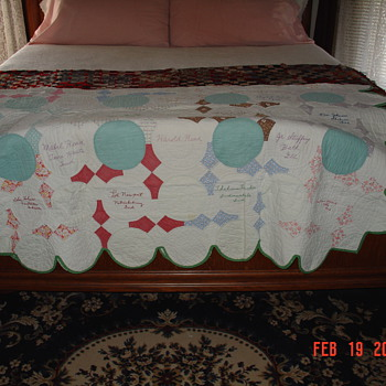 Signature Quilt... Thirty-two Signatures With Cities and States - Folk Art