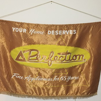 "Antique Painted on Silk Banner, By Hollywood Gleam Co. ""Your Home Deserves Perfection"" - Advertising"