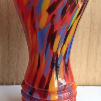 Czech Art Deco Spatter Vase - Art Glass