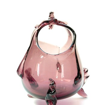 a basket vase by auguste jean in amethyst colour. circa 1880 - Art Glass