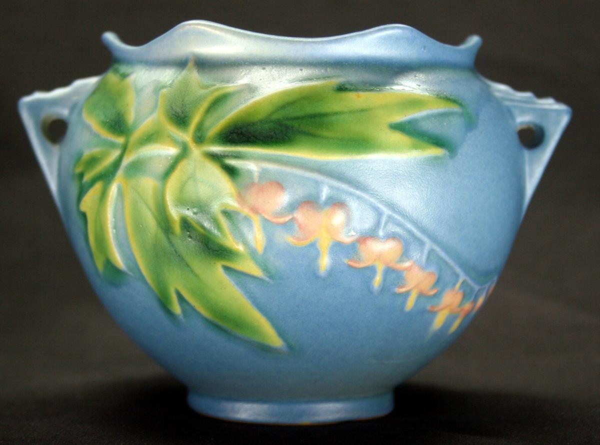 Vintage Art Deco Era Roseville Pottery 651 3 Blue Bleeding Heart
