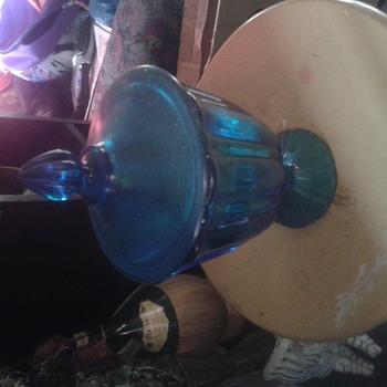 blue glass candy jar i think