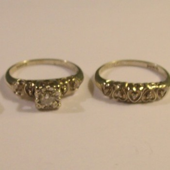 Various Vintage 14k White, Yellow, & Two Toned Gold Wedding/Engagement Sets